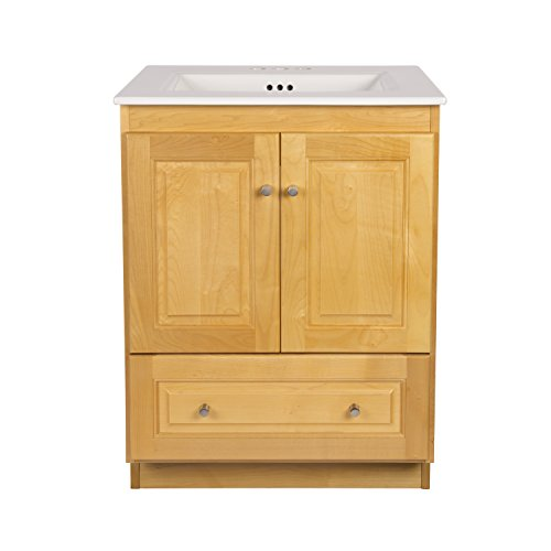 RONBOW Shaker 24 Inch Bathroom Vanity Set in Maple, Wood Cabinet with Two Wood Doors and Bottom Drawer, Ceramic Sinktop in White 080824-4-M01_Kit_1 (Style Single Shaker)