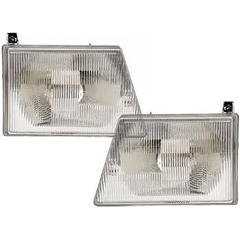 HEADLIGHTSDEPOT Chrome Housing Halogen Headlights Compatible with Ford E-150 Club Wagon Econoline E-250 E-350 Super Duty E-450 E-550 Ec Includes Left Driver ...