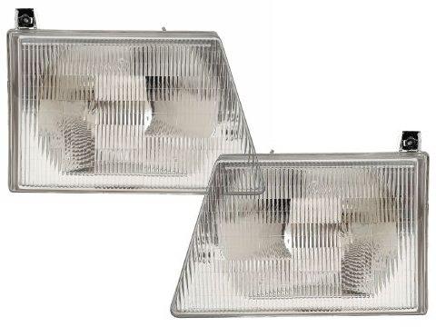 - HEADLIGHTSDEPOT Chrome Housing Halogen Headlights Compatible with Ford E-150 Club Wagon Econoline E-250 E-350 Super Duty E-450 E-550 Ec Includes Left Driver and Right Passenger Side Headlamps