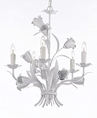5 light 23X19 Wrought Iron Chandelier Lighting Country French White , Free Shipping , Ceiling Fixture