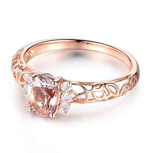Pink Morganite Engagement Ring,Solid 14K Rose Gold Band,Diamond Wedding Band,5x7mm Oval Cut Stone