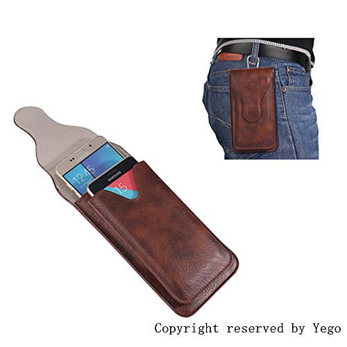 Yego Smartphone Universal Style Premium PU Leather Double Pockets Waist Bag Pouch Case for IPhone 6s 7 Plus for Samsung Note 5 (Brown)