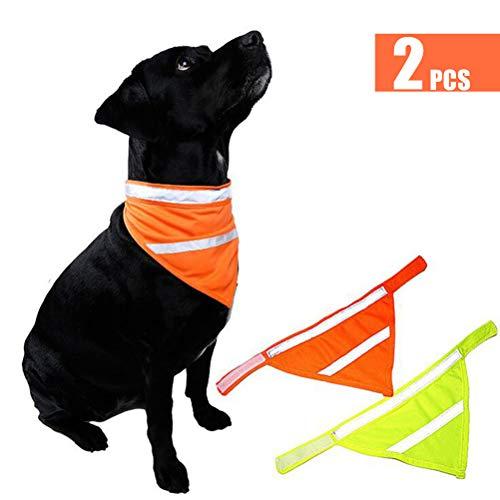 - Dog Bandanas Reflective Dog Scarf Velcro Dog Bandana Cat 2-Pack Yellow&Orange L