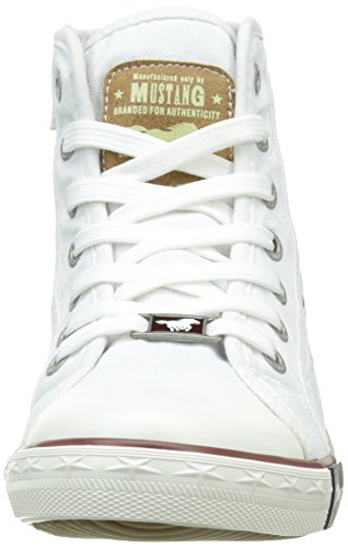 Mustang 1099-502-1, Sneakers Hautes Femme Blanc (1 Weiss)