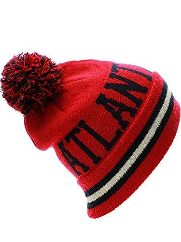 US CIties Atlanta Block Letters Cuff Beanie Knit Pom Pom Hat Cap (Atlanta Beanie With Pom)