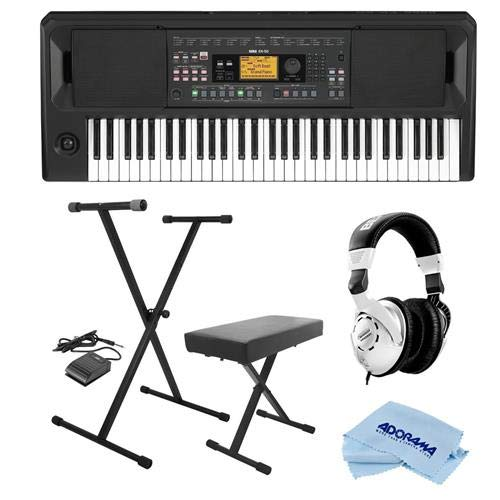 Korg EK-50 Entertainment Keyboard - Bundle With On-Stage KPK6520 Keyboard Stand/Bench Pack with Sustain Pedal, Behringer HPS3000 High-Performance Studio Headphones, Microfiber Cloth