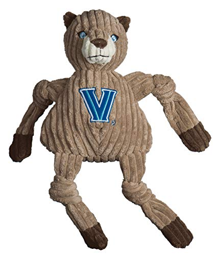 HuggleHounds Plush College Mascot Corduroy Durable Squeaky Knottie, Great Dog Toys for Aggressive Chewers, Villanova Will D. Cat, Large