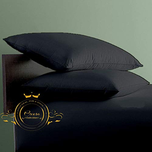 Crown Collection Black Solid Travel Pillow Shams Set of 2 pc - Hypoallergenic 600-TC 100% Egyptian Cotton Decorative Cushion Cover Toddler Pillow Cover (Black, Toddler 14'' x 21'')