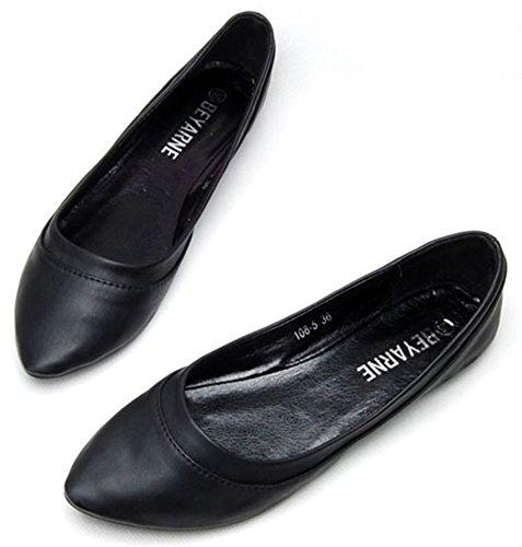 Sfnld Womens Décontracté Pointu Low Coupe Appartements Slip Sur Chaussures Noir
