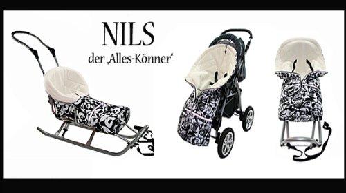 Thermofu/ßsack Lammfell-Acrylwolle Winterfu/ßsack Schlitten Kinderwagen Buggy Fu/ßsack NILS Fell von Baby-Joy NF-27 110cm LEOPARD 5 in 1