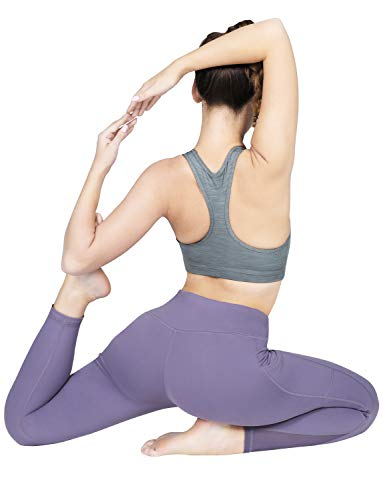 High Waisted Yoga Pants with Pockets - Tummy Control, Squat-Proof Workout Pants for Women, 4 Way Stretch Yoga Leggings Purple