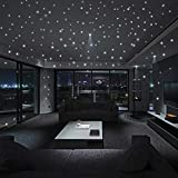 NPRADLA 100PC Kids Bedroom Fluorescent Glow in The Dark Stars Wall Stickers (Approx 3x3cm/1.19'x1.19', Green-1)