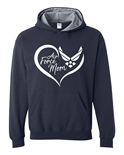 Ugo Air Force Mom Aim High Fly-Fight-Win Gift for Mothers Day Christmas Contrast Color Unisex Hoodie Air Force Mom Sweatshirt