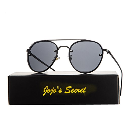 JOJO'S SECRET Oversized Round Mirrored Sunglasses,Clear Lens Aviator Sunglasses JS021 (Black/Grey, - Service Secret Sunglasses