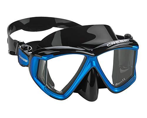 (Cressi Italian Designed Liberty Quattro Panoramic View Tempered Glass Lens Premium Scuba Snorkeling Mask, Black Blue Metallic )