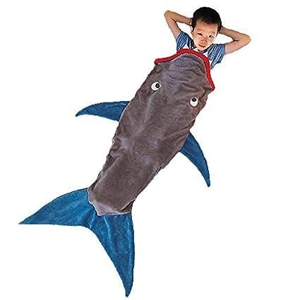 jellbaby niños tiburón bolsa de ocio de verano aire acondicionado manta de sofá manta de sirena