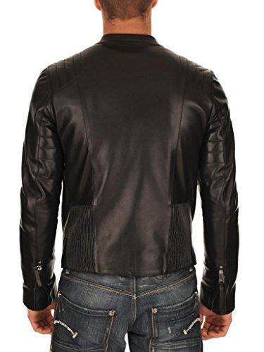 Cappotto Fit Pelle Giacca Outwear Biker Giacche Moto Da Auk018 Slim Black In Uomo YAaqTR