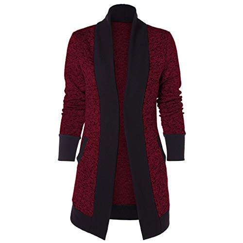 Fashion Cardigan Londony ♥‿♥ Women's Stretch Long Gathered Sleeve Color Block Open Blazer Jacket Tops (Mickey Mouse Gold Pocket Watch)
