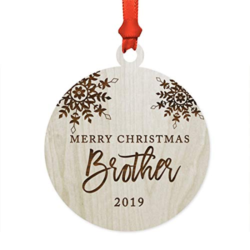 Andaz Press Family Laser Engraved Wood Christmas Ornament, Merry Christmas Brother 2018, Snowflakes, 1-Pack, Includes Ribbon and Gift Bag, Brother Xmas Present