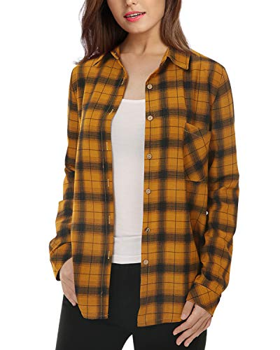 Two Pocket Flannel - Mixfeer Womens Casual Button Down Plaid Shirt Long Sleeve Boyfriend Shirt for Women Plaid Tops with Front Pocket(Size 2-18)