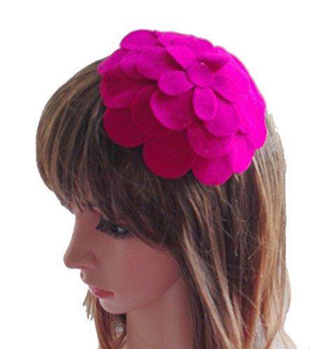 [Fascinator Hair Clip Head Hoop Flower Pillbox Wool Hat Cocktail Party Wedding Rose Red] (Singer Fancy Dress Costumes)