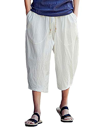 - Rexcyril Men's Baggy Linen Capri Pants, Casual Loose Drawstring Harem Yoga Long Shorts with Pockets White