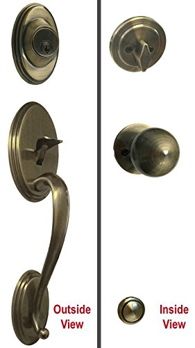 Antique Brass Lock Door Round Knob Handle Entry Privacy Passage