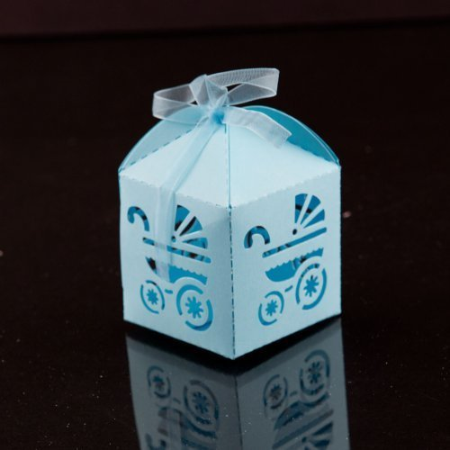 Ifavor123 Baby Carriage Favor Candy Box Party Baby Shower Party Decorations 24 Pcs (Blue)