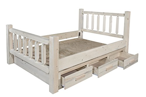 Montana Woodworks Homestead Collection California King Bed with Storage, Ready to Finish California King Unfinished Bed