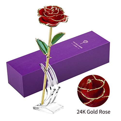 LUOHE 24k Gold Rose Galaxy Flower,Best Romantic Gifts Made from Real Fresh Long Stem Rose for her Halloween,Valentines Day,Birthday Gift,Mothers Day, Wedding, Home Decoration (Best Gift From Girlfriend)