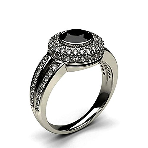 Ladies 2ct Bezel Diamond - Black Diamond Ring 0.5 Carat to 2 Carat Black Diamond Engagement Ring Bezel Setting With White Diamond Side Stone Halo