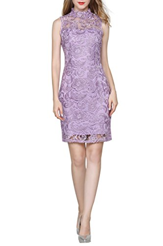 Crochet Smily Lilac Little Dress Lace Form Women's Cocktail Fitting High Neck Bodycon qCdRdET