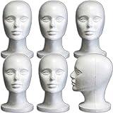 (6 Pack) Styrofoam Model Heads w/ 'Stabili-Base' Design by 3rd Power - Hat Wig Foam Mannequin