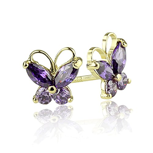 14K Yellow Gold Marquise CZ Butterfly Screwback Stud Earrings - Purple