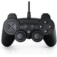 Gamepad USB con cable para PS 3 con doble vibración | controlador de mando | Plug & Play | negro