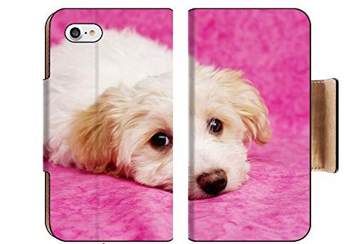 Liili Premium Apple iPhone 8 Flip Pu Wallet Case Image ID: 17693100 Sleepy Bichon Frise Cross Puppies Laid on a Pink Mottled Background