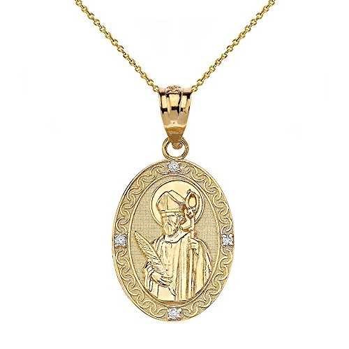 Solid 10k Gold Saint Valentine of Rome Diamond Oval Medal Pendant Necklace (1