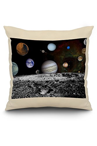 Solar System Montage of Voyager Images - Vintage Photograph (20x20 Spun Polyester Pillow, White Border) by Lantern Press