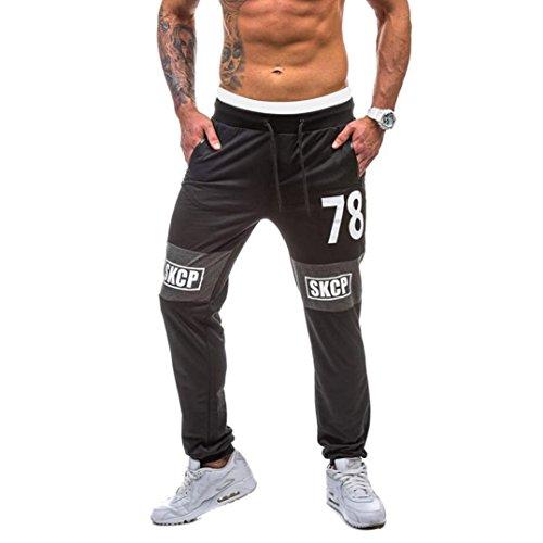 Price comparison product image Men Pants Daoroka Men's Summer Casual Pocket Loose Letter Printed Elastic Long Slacks Fashion Sport Gym Fitness Trouser (2XL,  Black)