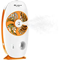 Handheld Misting Fan USB Rechargeable Personal Cooling Humidifier For Home Office Desktop Air Fresh Sprayer (Orange)