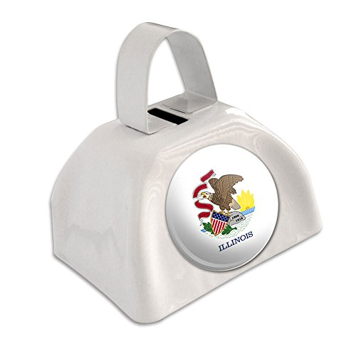 Illinois Bell (Illinois State Flag White Cowbell Cow Bell)