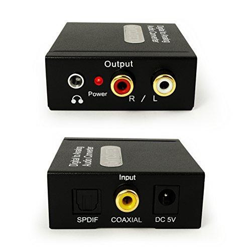 Incutex Audio Konverter Wandler Digital (Toslink und Coaxial) zu Analog (Cinch, Klinke) Audiowandler Decoder mit Netzteil