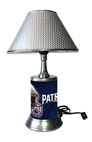 JS Table Lamp with Chrome Colored Shade, New England Patriots Plate Rolled in on The lamp Base