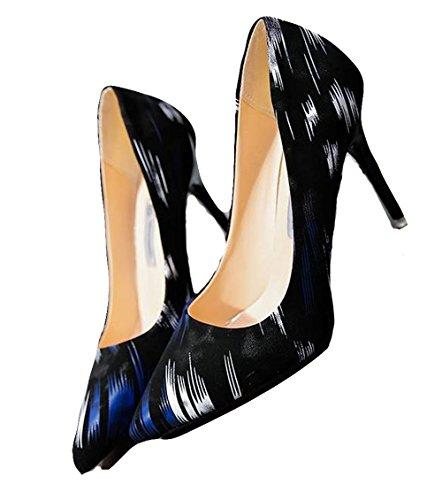 Ein bißchen 2018 Damen Gekritzel High Heels Pumps OL Business Arbeitschuhe Blau