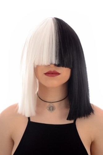 Long Black And White Blunt Cut Bob Costume Wig With Fringe