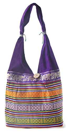 HANDMADE COTTON CLOTH HANDBAG SHOULDER TOTE BAG FOR GIRL WOMEN (PURPLE)