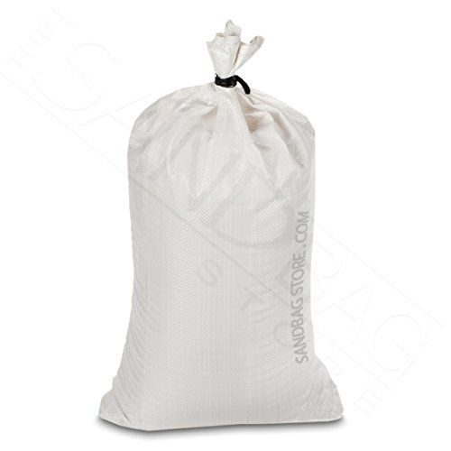Sand Bags, 100 Empty White Polypropylene with Ties with UV Protection