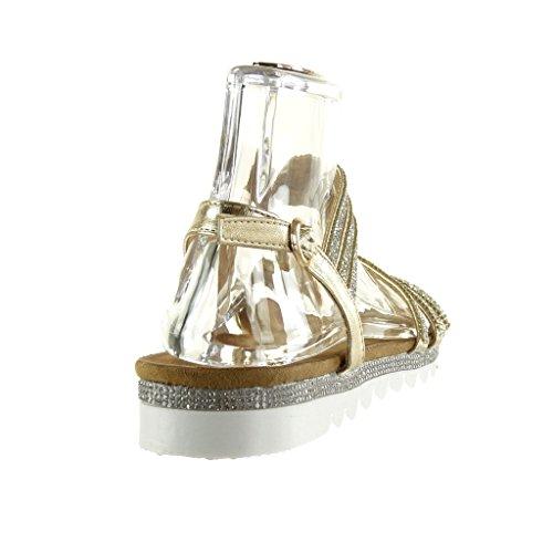 Angkorly - Zapatillas de Moda Sandalias suela de zapatillas mujer tanga multi-correa strass Talón tacón plano 2.5 CM - Oro
