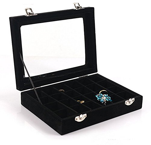 (VANCORE Velvet Glass Jewelry Ring Display Organiser Box Tray Holder Earrings Storage Case)