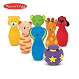 "Melissa & Doug Bowling Friends Preschool Play Set, 6-Pin Bowling Game with Carrying Case (Weighted Bottoms, 7 Pieces, 9"" H x 8.5"" W x 7"" L)"